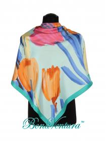BonaVentura — Платок большой, шелковый, тюльпан