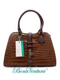 Крокодиловая сумка BV, коричневого цвета. артикул.  Экокожа. состав.