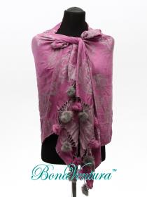BonaVentura — Палантин жаккардовый с розами и мехом